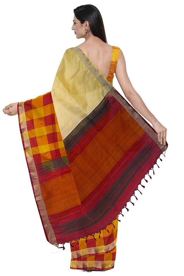 SIGNORAA CREAM KANCHIPURAM SILK SAREE-KSL02509- Model View 2