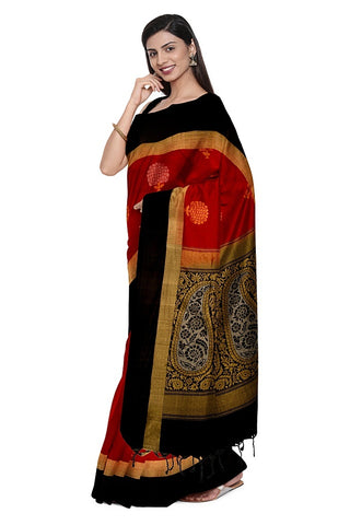 SIGNORAA RED KANCHIPURAM SILK SAREE-KSL02539- Model View 1