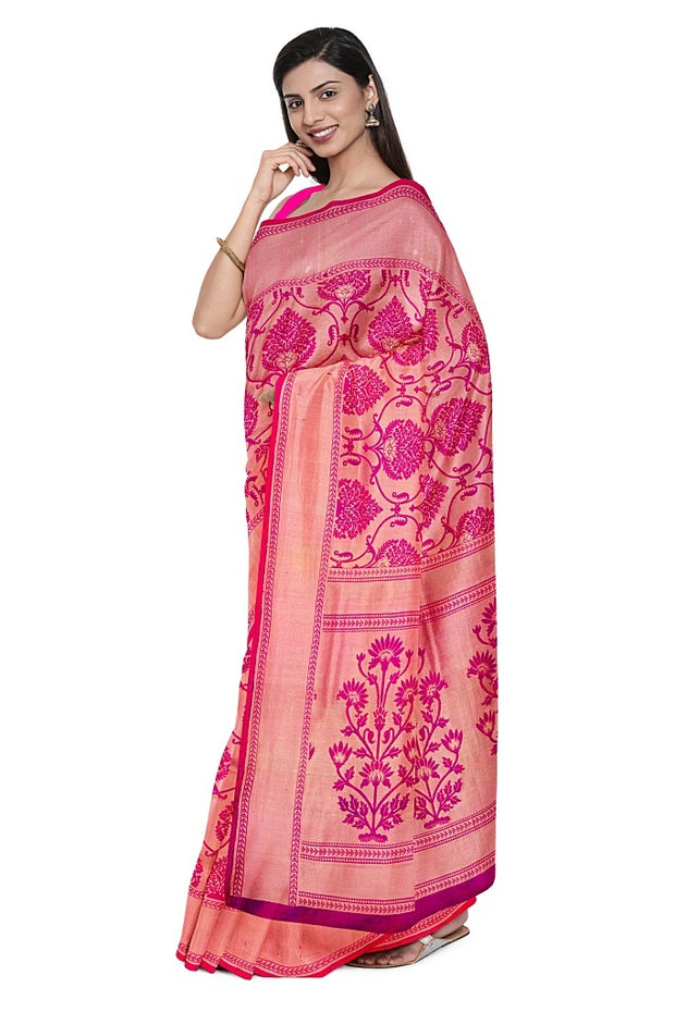 SIGNORAA PINK KANCHIPURAM SILK SAREE-KSL02557A- Model View