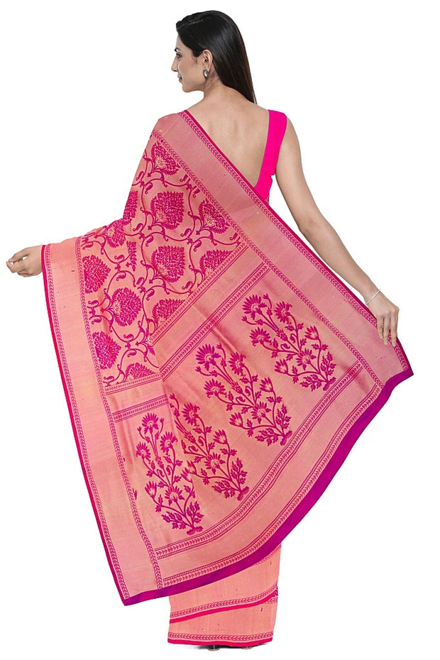 SIGNORAA PINK KANCHIPURAM SILK SAREE-KSL02557A- Model View 2