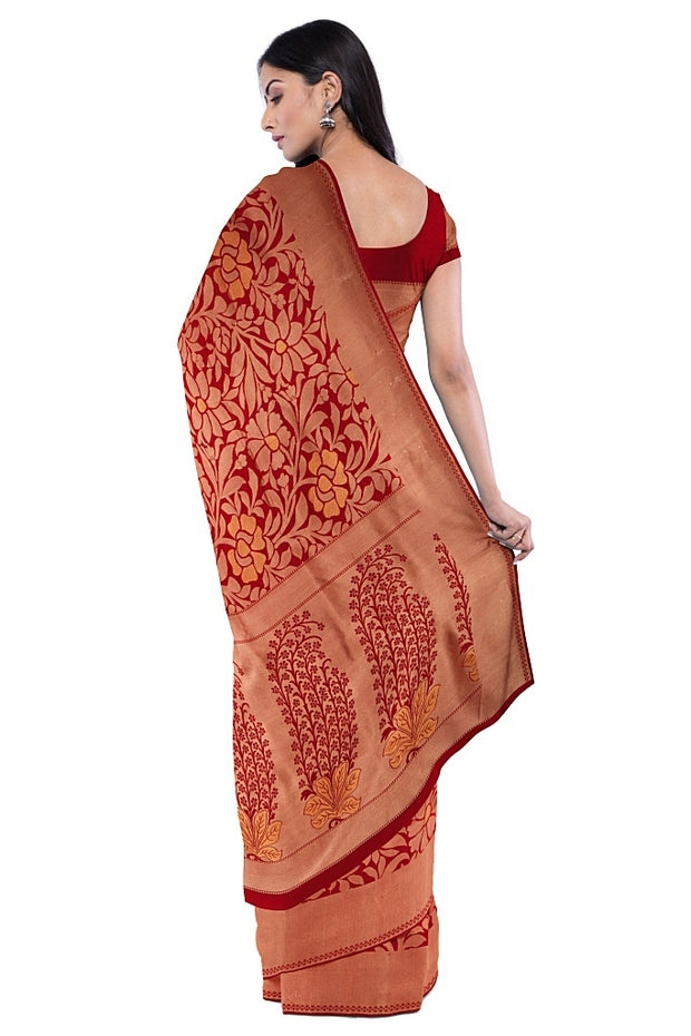 SIGNORAA RED KANCHIPURAM SILK SAREE-KSL02557- Model View2