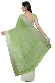SIGNORAA LIGHT GREEN KANCHIPURAM SILK SAREE-KSL02558- Model View 2