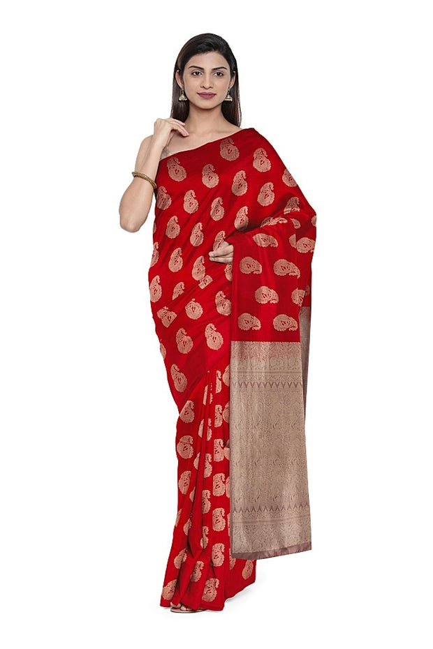 SIGNORAA RED KANCHIPURAM SILK SAREE-KSL02571A- Model View 1