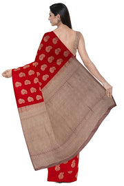 SIGNORAA RED KANCHIPURAM SILK SAREE-KSL02571A- Model View 2