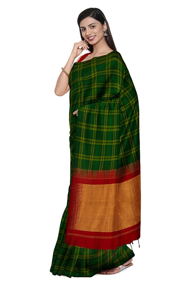 SIGNORAA BOTTLE GREEN KANCHIPURAM SILK SAREE-KSL02576- Model View 1