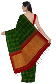 SIGNORAA BOTTLE GREEN KANCHIPURAM SILK SAREE-KSL02576- Model View 2