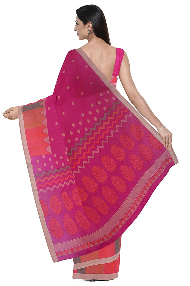 SIGNORAA RANI PINK KANCHIPURAM SILK SAREE-KSL02579- Model View 2