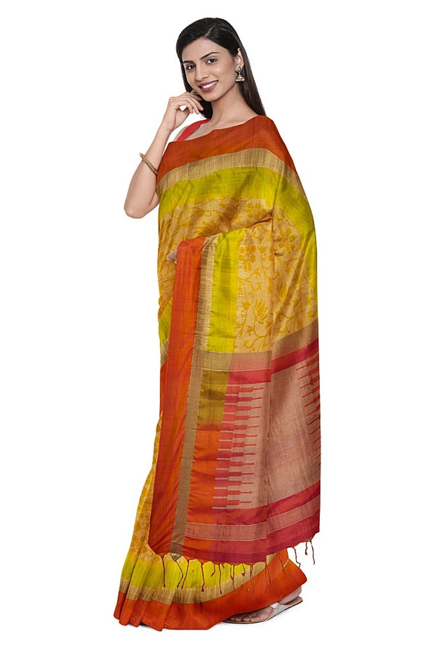 SIGNORAA OIL MUSTARD KANCHIPURAM SILK SAREE-KSL02590- Model View