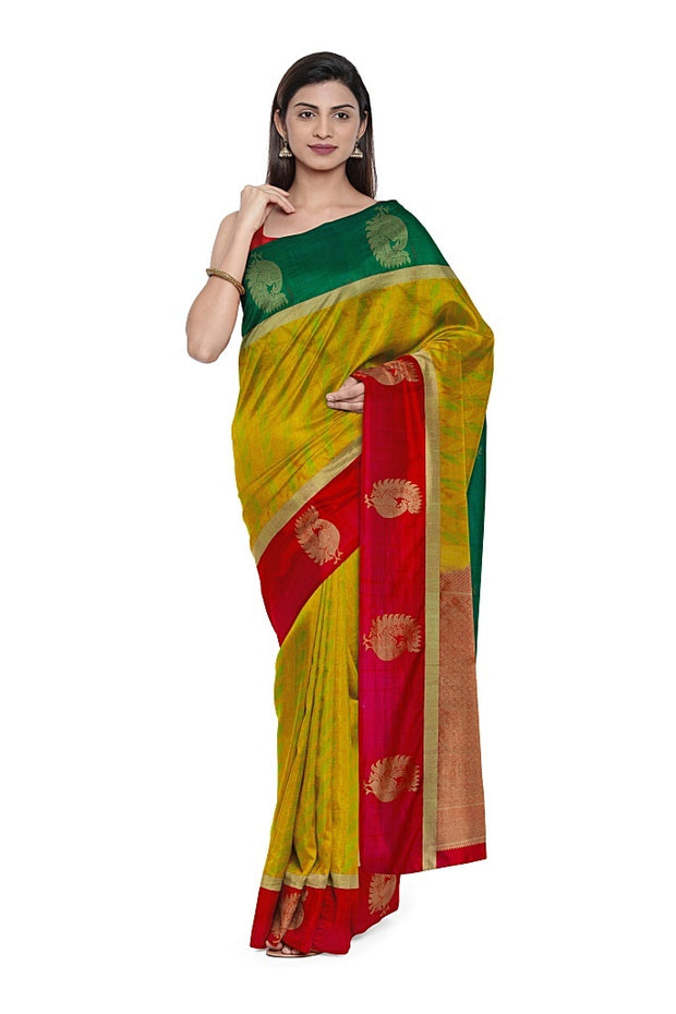SIGNORAA MUSTARD KANCHIPURAM SILK SAREE-KSL02604- Model View 1