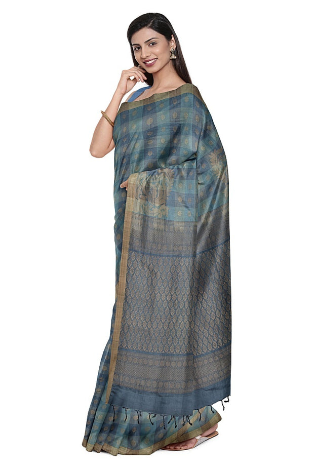 SIGNORAA GREY KANCHIPURAM SILK SAREE-KSL02672- Model View 1