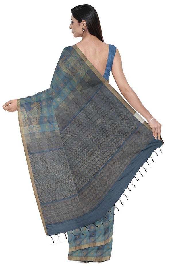 SIGNORAA GREY KANCHIPURAM SILK SAREE-KSL02672- Model View 2