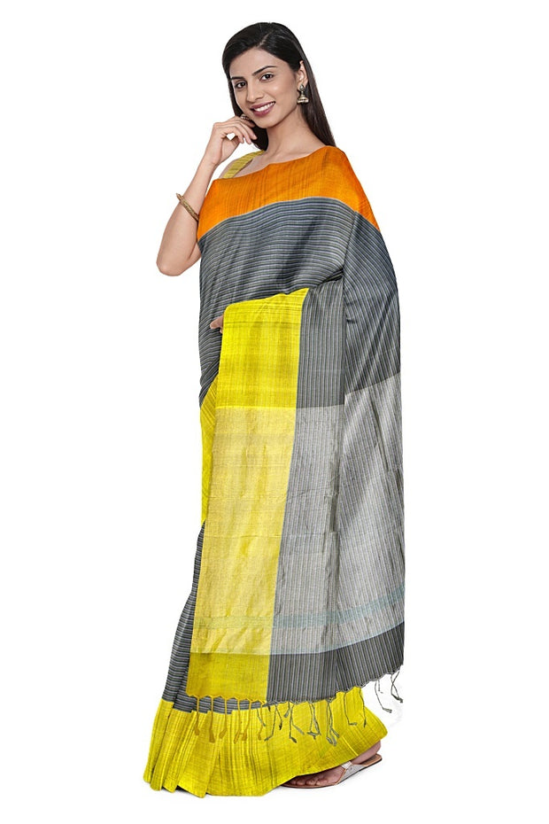 SIGNORAA GREY ORGANZA SAREE-PTS04411- Model View 1