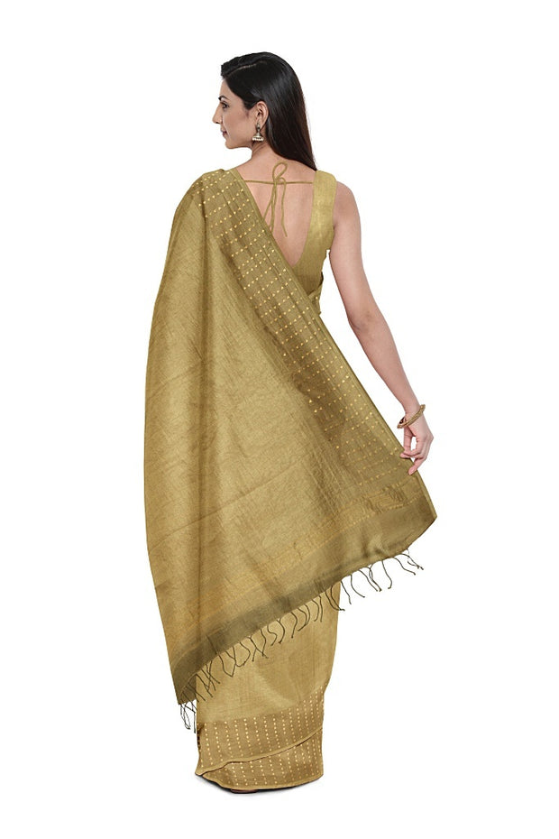 SIGNORAA BEIGE ORGANZA SILK SAREE-PTS04583- Model View 2