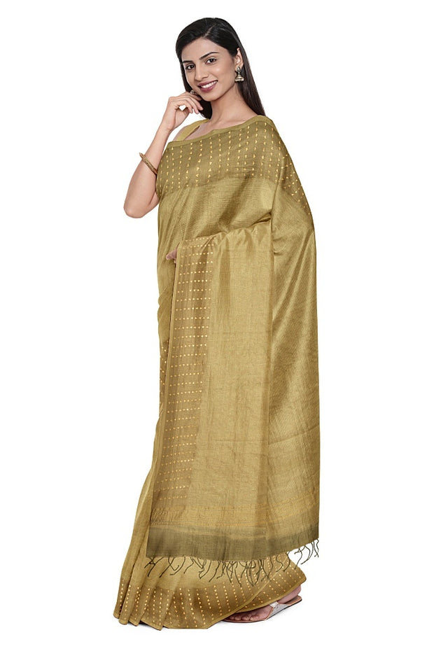 SIGNORAA BEIGE ORGANZA SILK SAREE-PTS04583- Model View 1