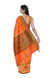 SIGNORAA ORANGE BANARASI COTTON SAREE-BSK08181- Model View 2