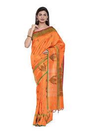 SIGNORAA ORANGE BANARASI COTTON SAREE-BSK08181- Model View 1