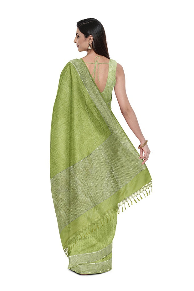 SIGNORAA GREEN BANARASI SILK SAREE-BSK08736- Model View 2
