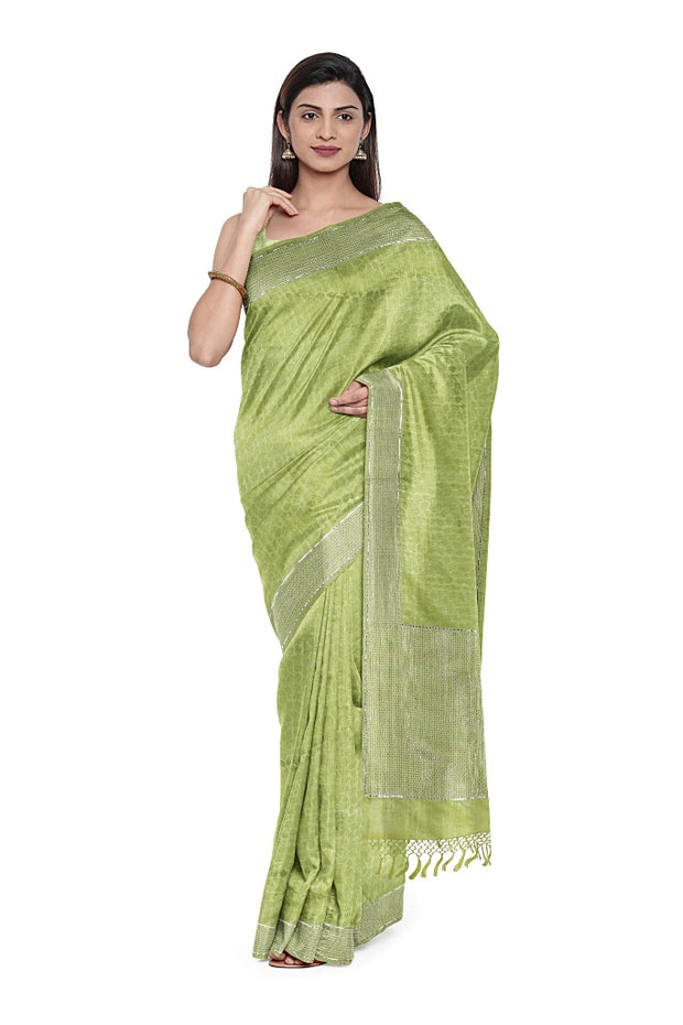 SIGNORAA GREEN BANARASI SILK SAREE-BSK08736- Model View