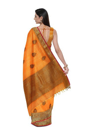 SIGNORAA ORANGE BANARASI COTTON SAREE-BSK08768- model View 2