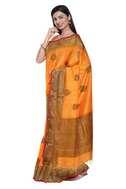 SIGNORAA ORANGE BANARASI COTTON SAREE-BSK08768- model View