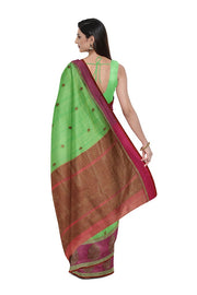 SIGNORAA GREEN BANARASI COTTON SAREE-BSK08797- Model View 2