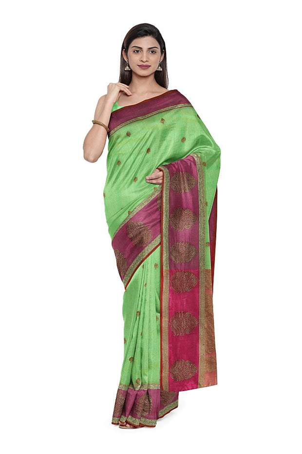 SIGNORAA GREEN BANARASI COTTON SAREE-BSK08797- Model View 1