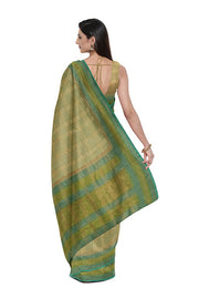 SIGNORAA PALE GREEN BANARASI TUSSAR SILK SAREE-BSK08873- Model View 2