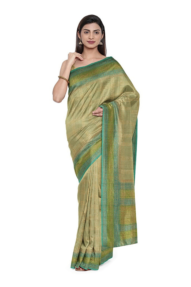 SIGNORAA PALE GREEN BANARASI TUSSAR SILK SAREE-BSK08873- Model View 1