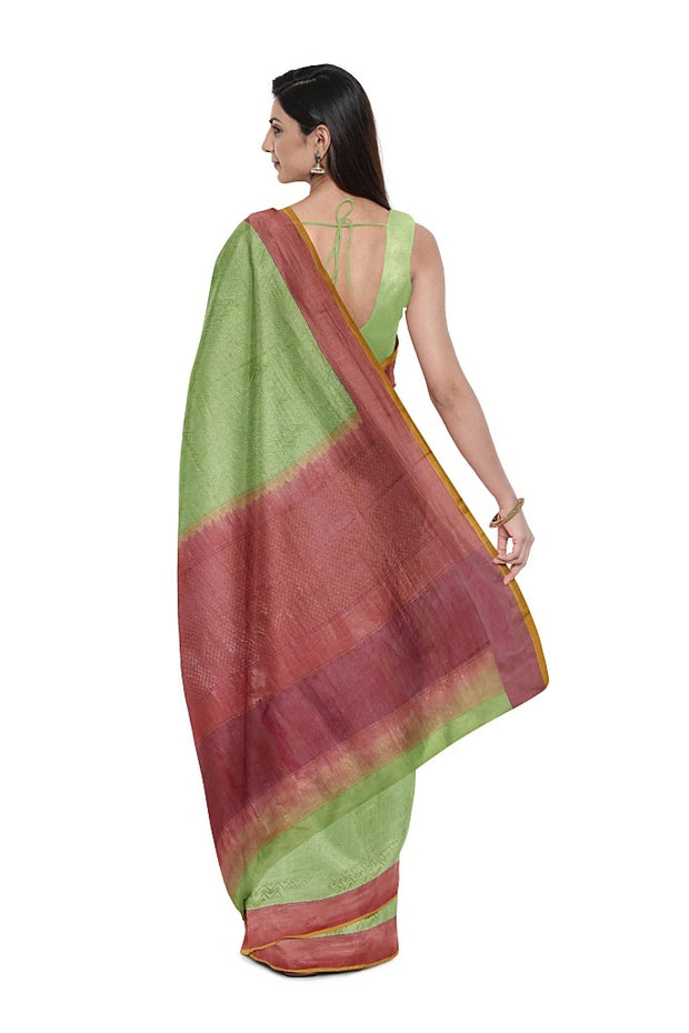 SIGNORAA PISTA GREEN BANARASI TANCHOI SILK SAREE-BSK08882- Model View 1
