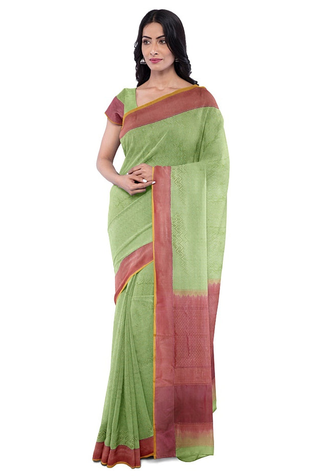 SIGNORAA PISTA GREEN BANARASI TANCHOI SILK SAREE-BSK08882- Model View