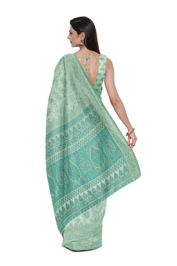 SIGNORAA PASTEL BLUE BANARASI SOFT TUSSAR SAREE-BSK08892- Model View 2