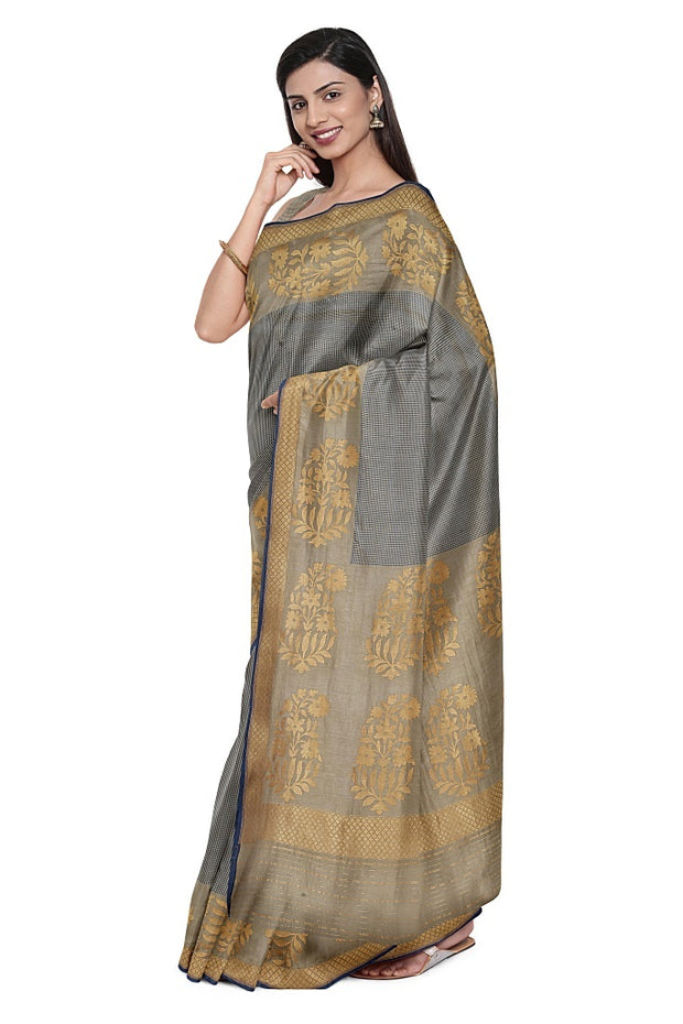 SIGNORAA GREY BANARASI SILK SAREE-BSK08897- Model View