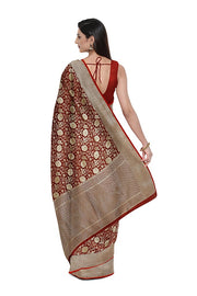 SIGNORAA MAROON BANARASI SILK SAREE-BSK08916- Model View 2