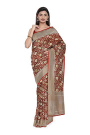 SIGNORAA MAROON BANARASI SILK SAREE-BSK08916- Model View
