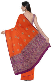 SIGNORAA ORANGE BANARASI SILK SAREE-BSK08929- Model View 2