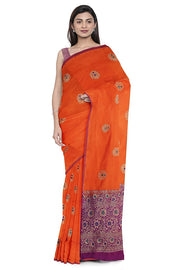 SIGNORAA ORANGE BANARASI SILK SAREE-BSK08929- Model View