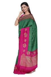 SIGNORAA BOTTLE GREEN BANARASI TUSSAR SAREE-BSK08958- Model View