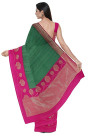 SIGNORAA BOTTLE GREEN BANARASI TUSSAR SAREE-BSK08958- Model View 2