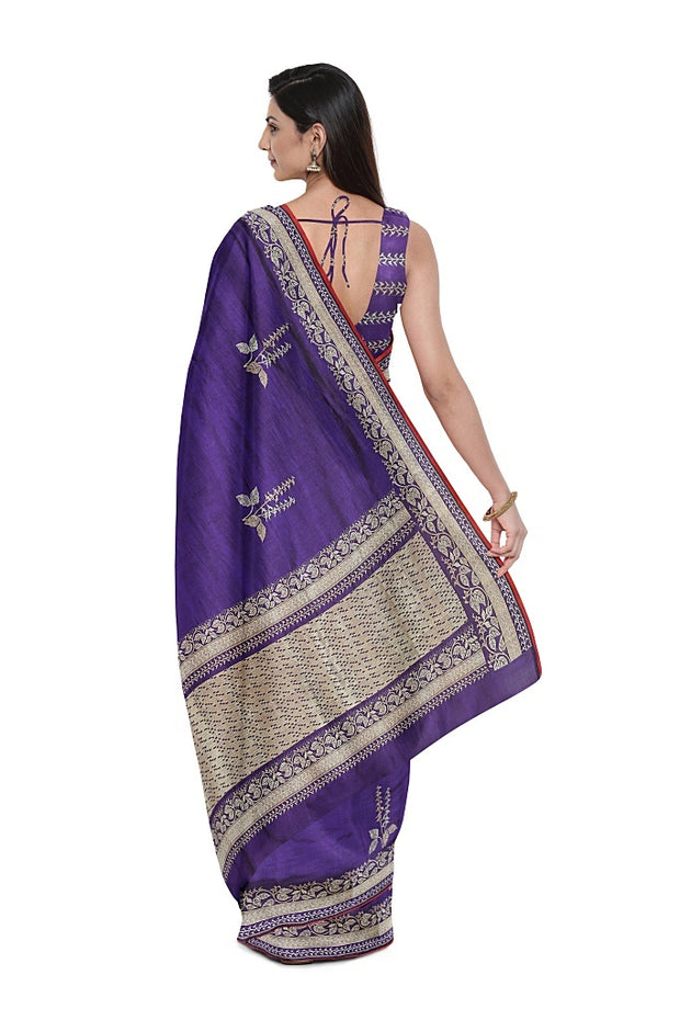 SIGNORAA PURPLE BANARASI SILK SAREE-BSK08965- Model View 2