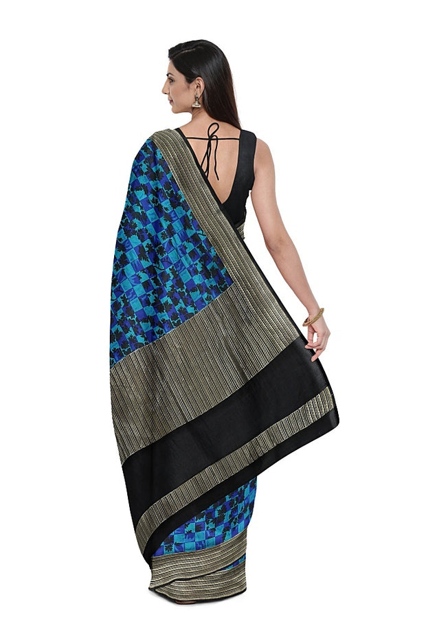 SIGNORAA DARK BLUE BANARASI SILK SAREE-BSK08968- Model View 2