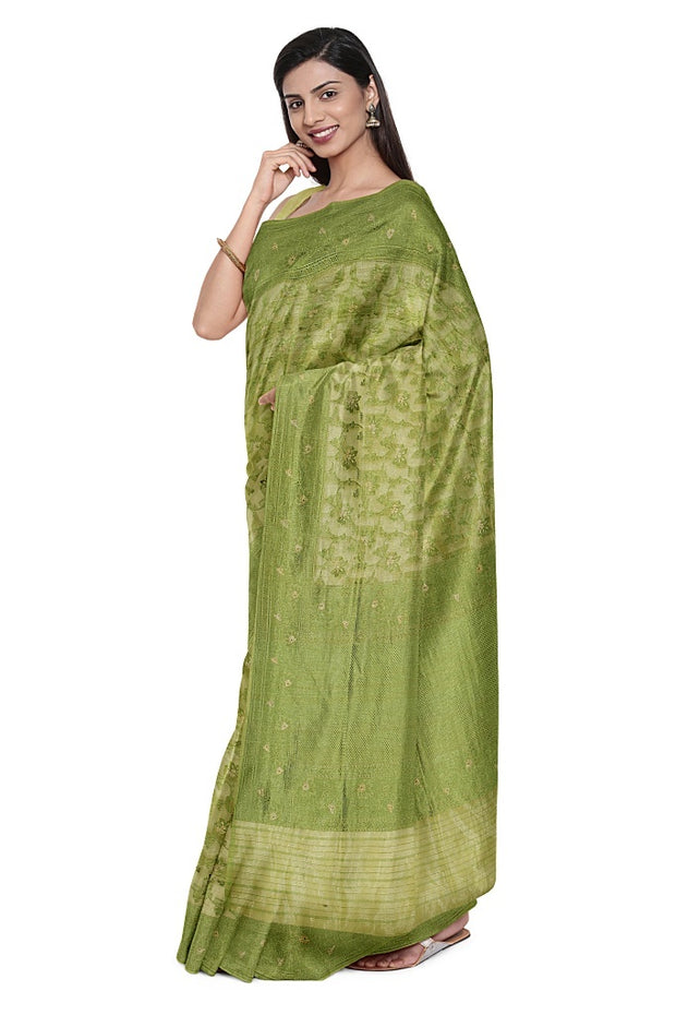 SIGNORAA GREEN BANARASI SILK SAREE-BSK09022- Model View 1