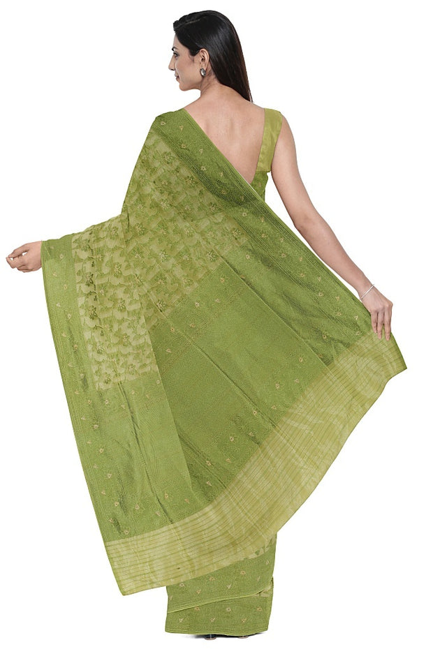 SIGNORAA GREEN BANARASI SILK SAREE-BSK09022- Model View 2