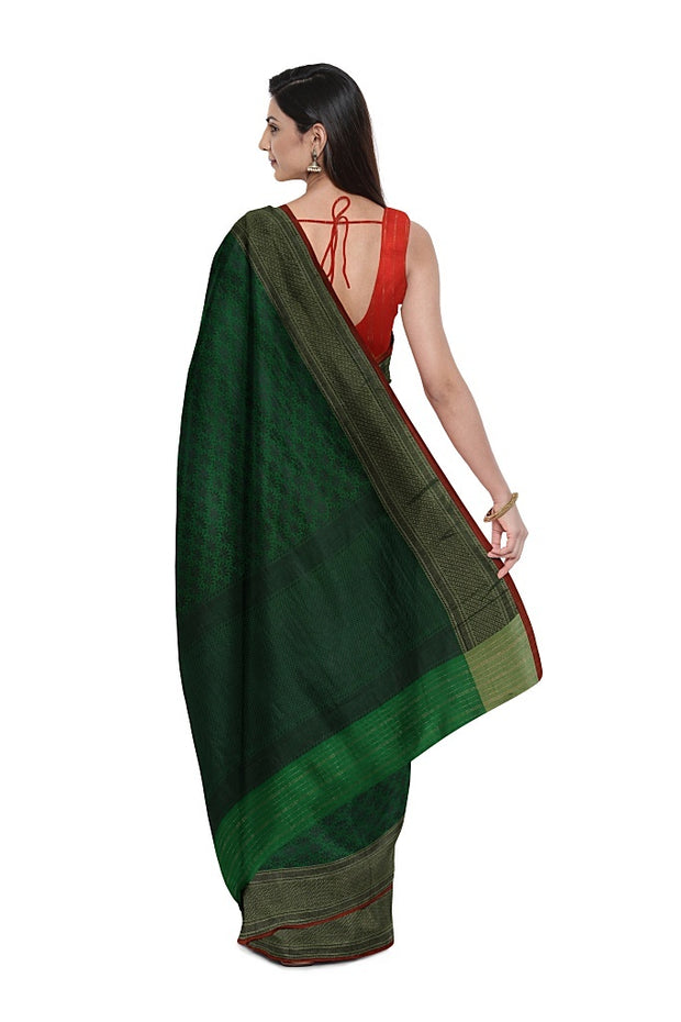 SIGNORAA PEACOCK GREEN BANARASI SILK SAREE-BSK09032- Model View 2