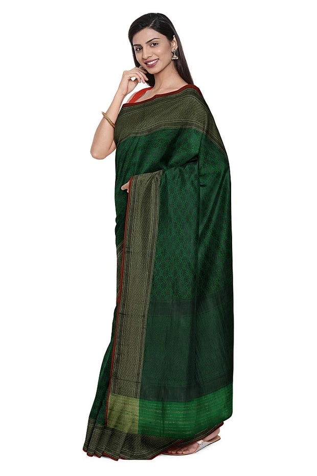 SIGNORAA PEACOCK GREEN BANARASI SILK SAREE-BSK09032- Model View