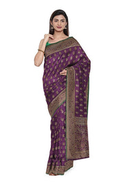 SIGNORAA PURPLE BANARASI TANCHOI SILK SAREE-BSK09033- Model View 1