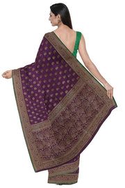 SIGNORAA PURPLE BANARASI TANCHOI SILK SAREE-BSK09033- Model View 2