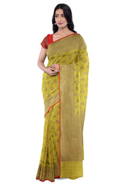 SIGNORAA LIGHT GREEN BANARASI TANCHOI SILK SAREE-BSK09037- Model View 1