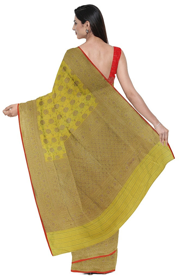 SIGNORAA LIGHT GREEN BANARASI TANCHOI SILK SAREE-BSK09037- Model View 2