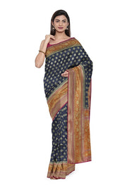 SIGNORAA NAVY BLUE BANARASI TUSSAR SAREE-BSK08846- Model View 1
