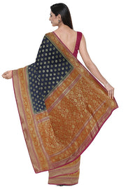 SIGNORAA NAVY BLUE BANARASI TUSSAR SAREE-BSK08846- Model View 2
